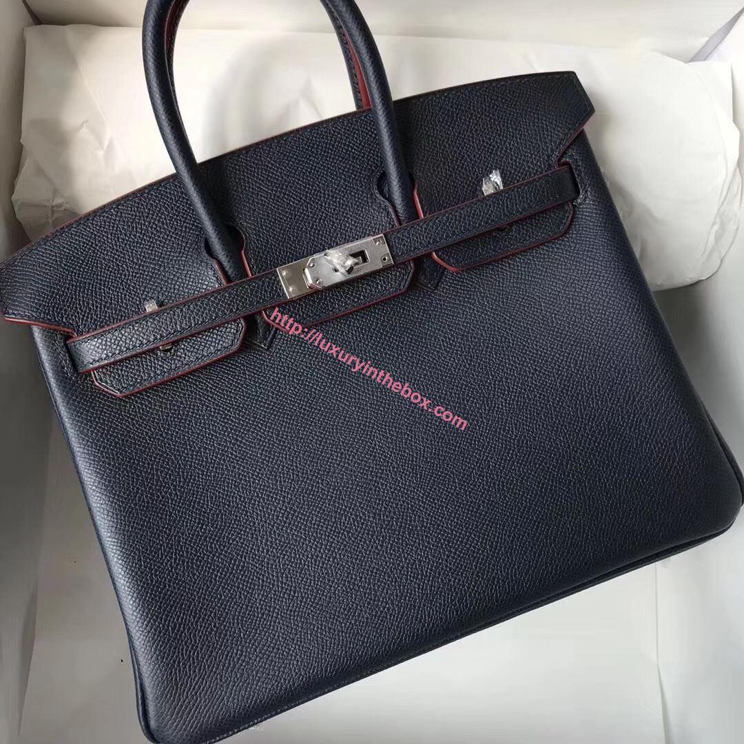 Picture of Hermes 25cm Epsom Leather black with red lines Silver