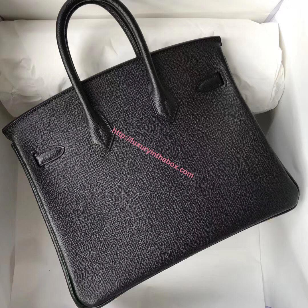 Picture of Hermes 25cm Epsom Leather black with Black Gold
