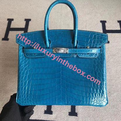 Picture of Hermes 25cm Crocodile Leather Turquoise Blue with silver