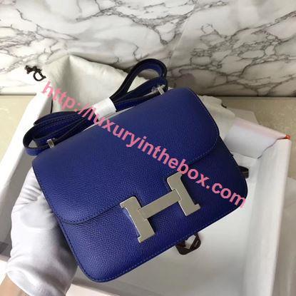 Picture of Hermes Constance 18cm Shoulder Bag Electric Blue Silver