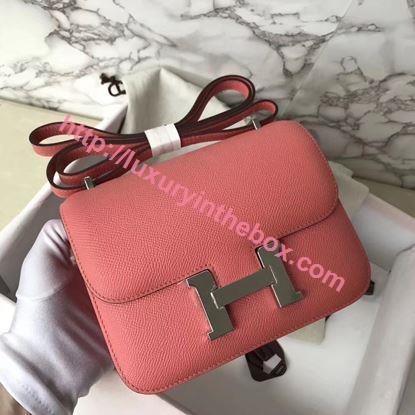 Picture of Hermes Constance 18cm Shoulder Bag Pink Silver