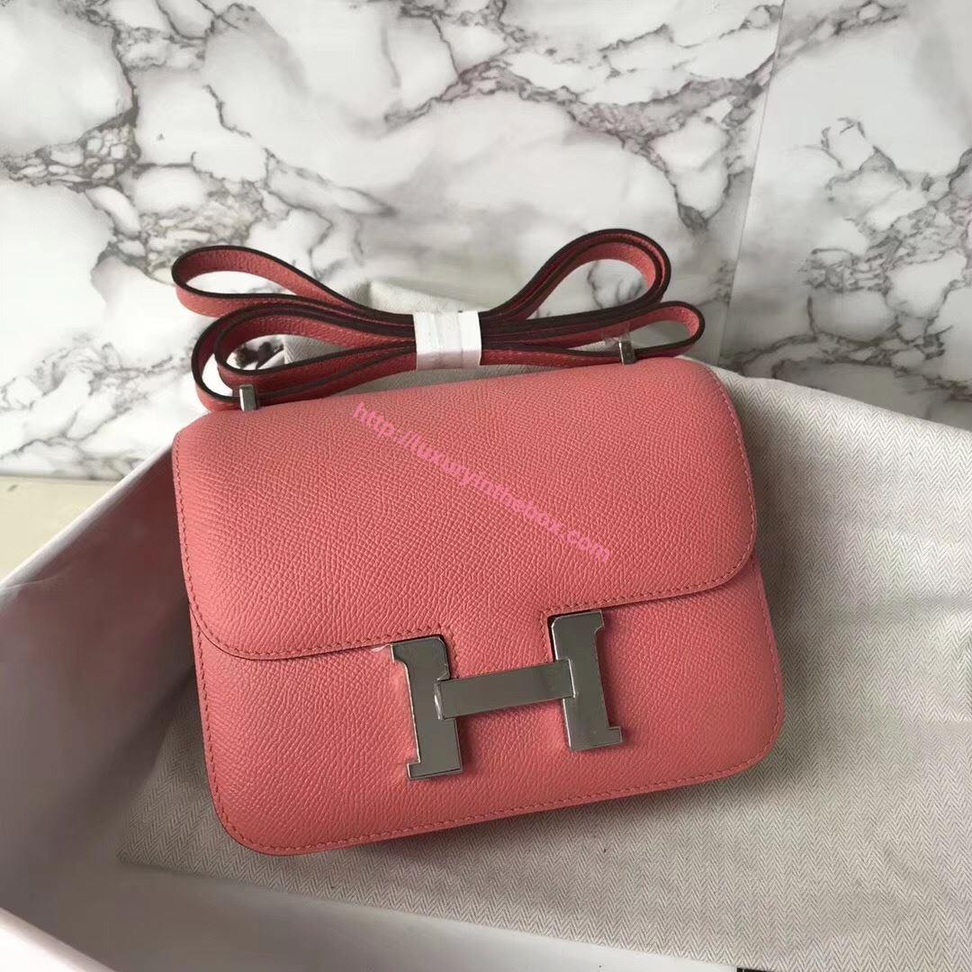 Picture of Hermes Constance 18cm Shoulder Bag Pink Silver