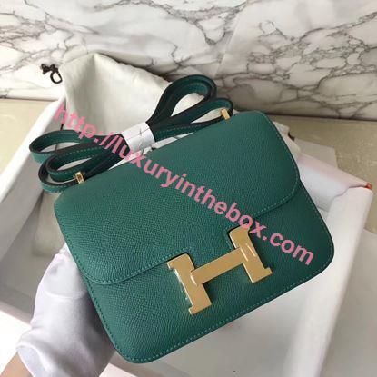 Picture of Hermes Constance 18cm Shoulder Bag Green Silver (Gold)