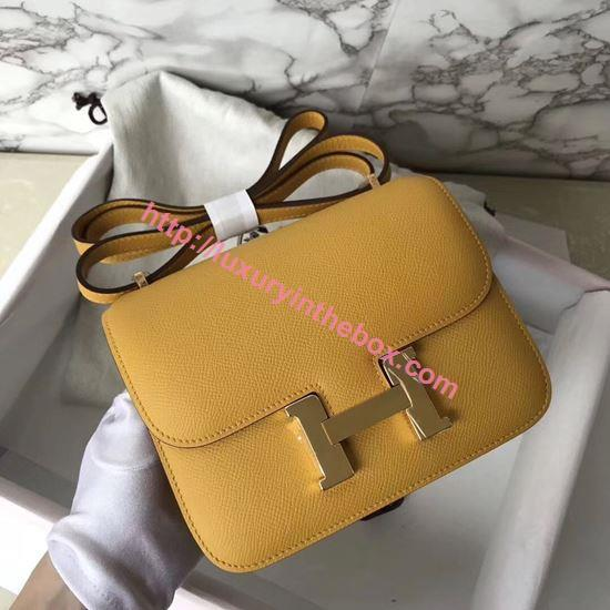 Picture of Hermes Constance 18cm Shoulder Bag Amber Yellow Gold