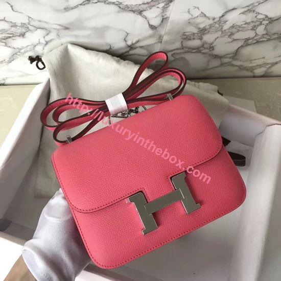 Picture of Hermes Constance 18cm Shoulder Bag Lipstick Pink Silver