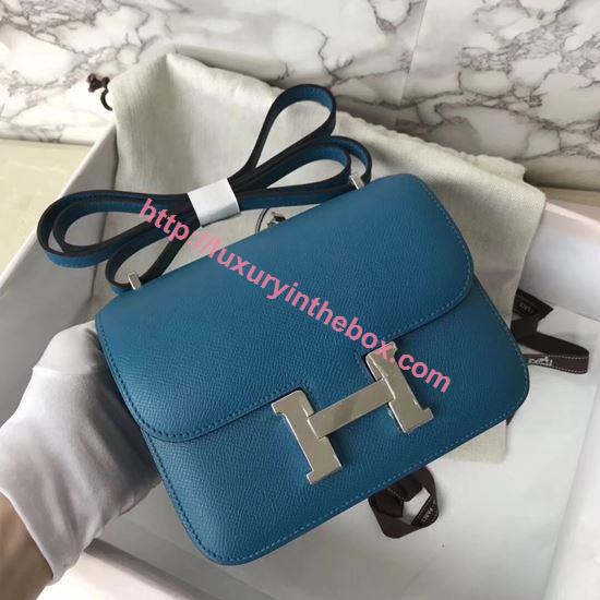 Picture of Hermes Constance 18cm Shoulder Bag Blue Silver