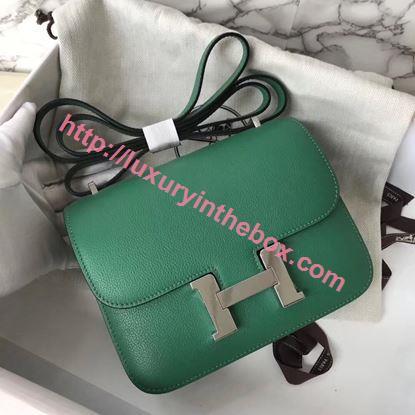 Picture of Hermes Constance 18cm Shoulder Bag Velvet Green Silver