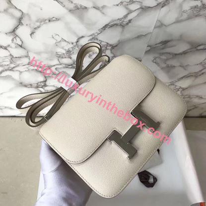 Picture of Hermes Constance 18cm Shoulder Bag Milk White Silver