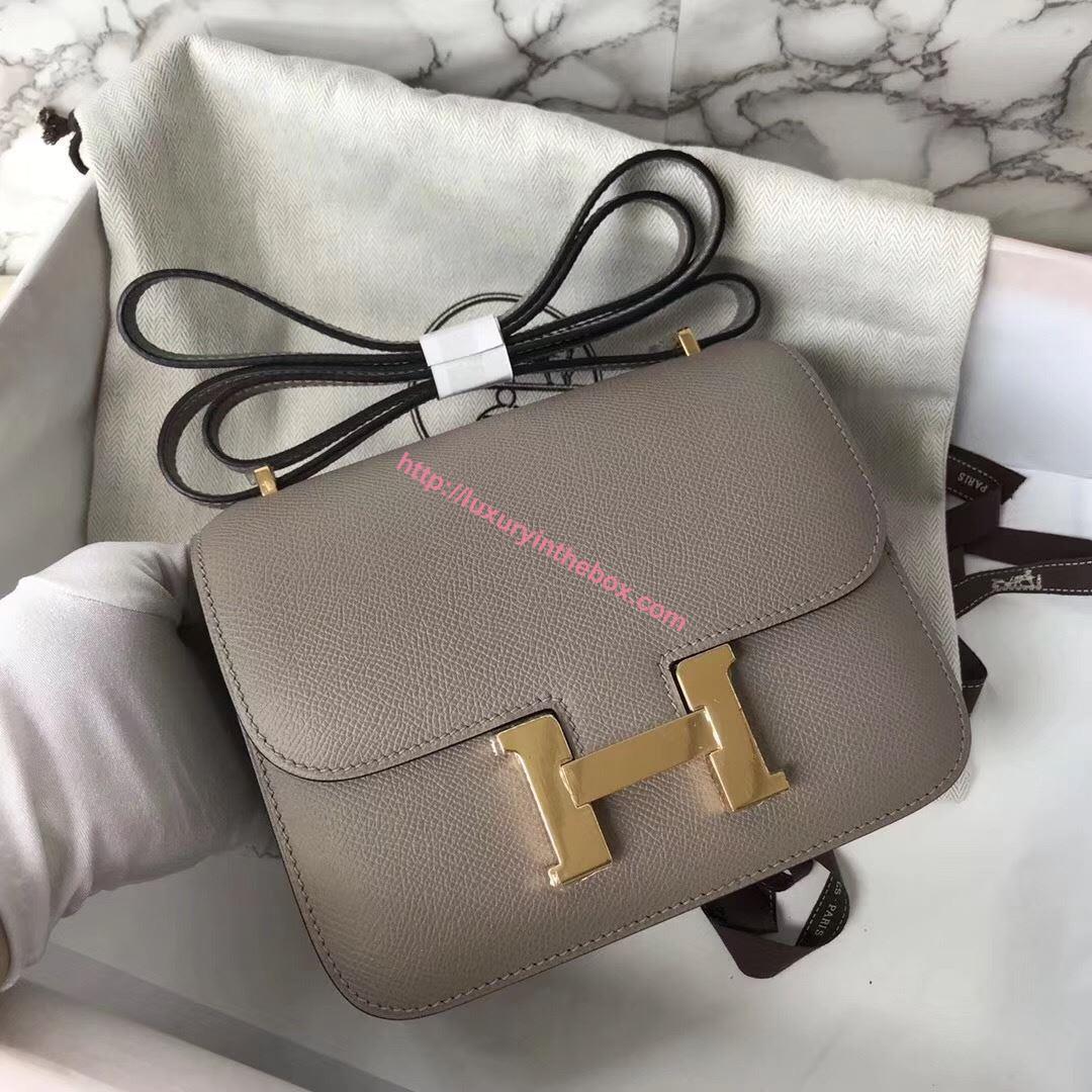 Picture of Hermes Constance 18cm Shoulder Bag Asphalt Grey Gold