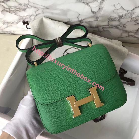 Picture of Hermes Constance 18cm Shoulder Bag Baboo Green Gold(Silver)