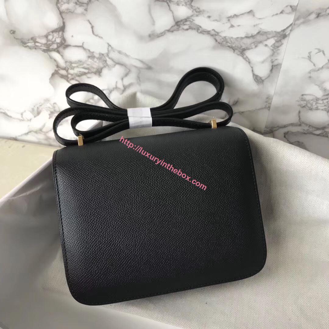Picture of Hermes Constance 18cm Shoulder Bag Black Gold(Silver)