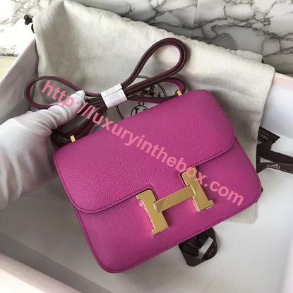 Picture of Hermes Constance 18cm Shoulder Bag Yulan Pink Gold