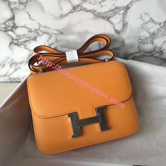 Picture of Hermes Constance 18cm Shoulder Bag Yulan Sunshine Yellow Silver