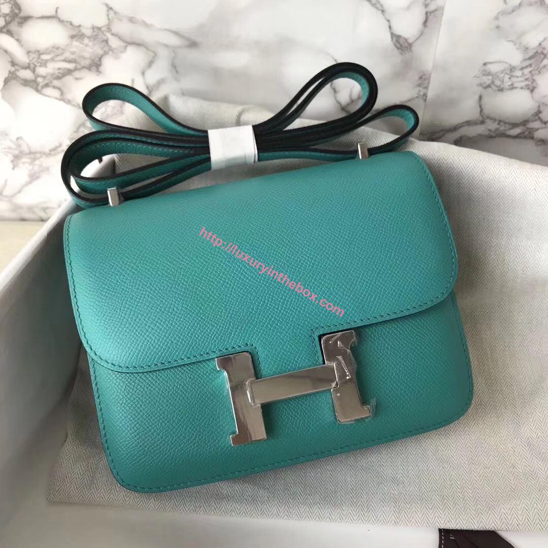 Picture of Hermes Constance 18cm Shoulder Bag Yulan Azure Blue Silver