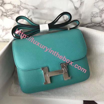 Picture of Hermes Constance 18cm Shoulder Bag Yulan Azure Blue Silver