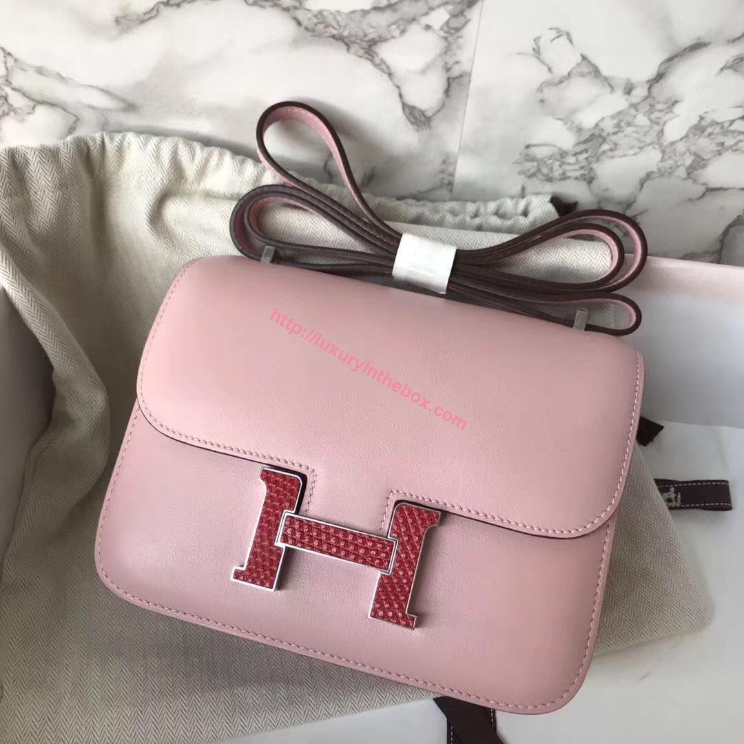 Picture of Hermes Constance 18cm Shoulder Bag Yulan Milk Pink lizard