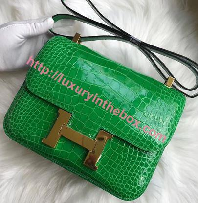Picture of Hermes Constance 18cm Shoulder Bag Cactus Gold