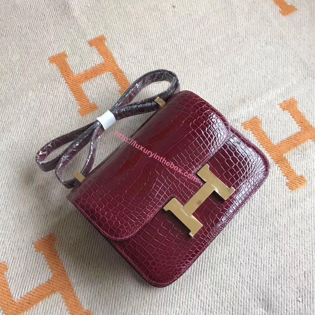Picture of Hermes Constance 18cm Shoulder Bag Red Wine Gold