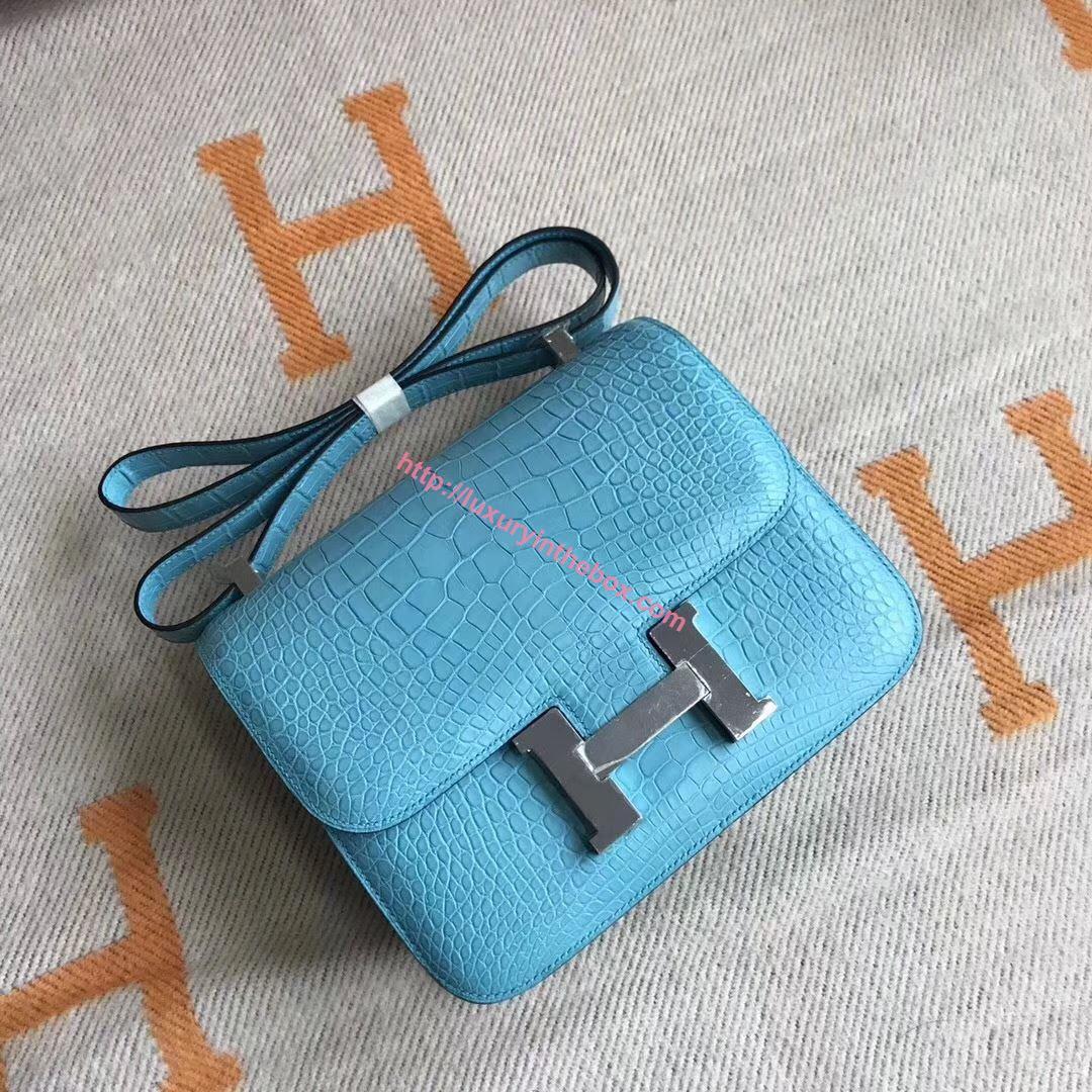 Picture of Hermes Constance 18cm Shoulder Bag Brillant Blue Silver