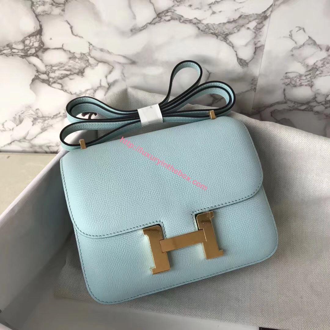 Picture of Hermes Constance 18cm Shoulder Bag Brillant Light Blue Gold