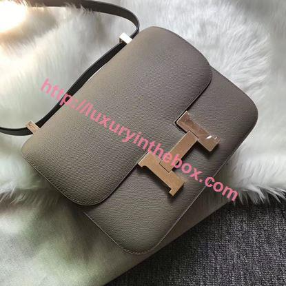 Picture of Hermes Constance 18cm Shoulder Bag Brillant Paris Grey Gold