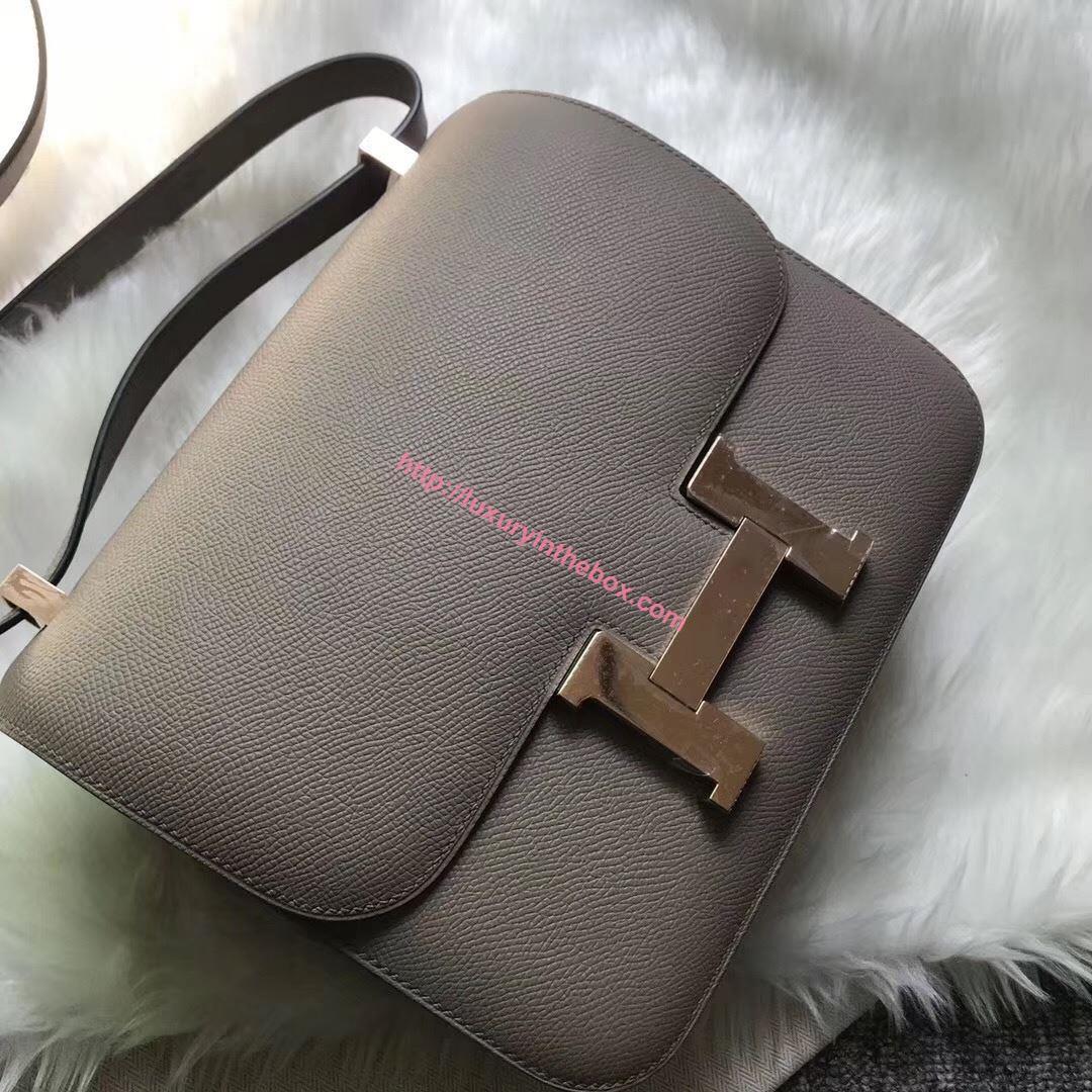 Picture of Hermes Constance 18cm Shoulder Bag Brillant Paris Grey Gold