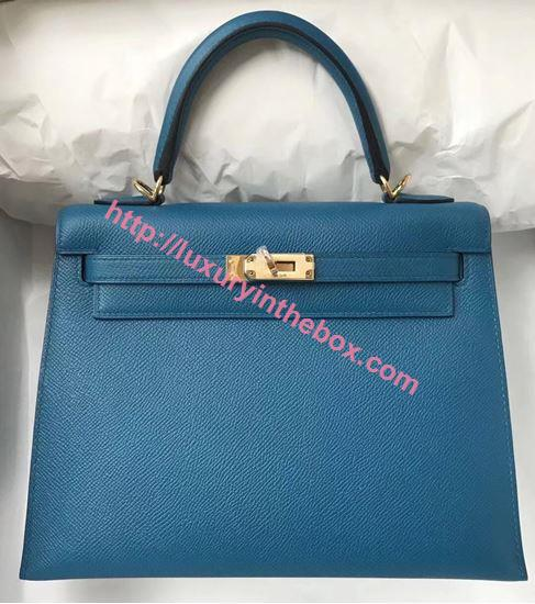Picture of Hermes Kelly 25cm Epsom Leather Tote Bag Lake Blue Gold(Silver)