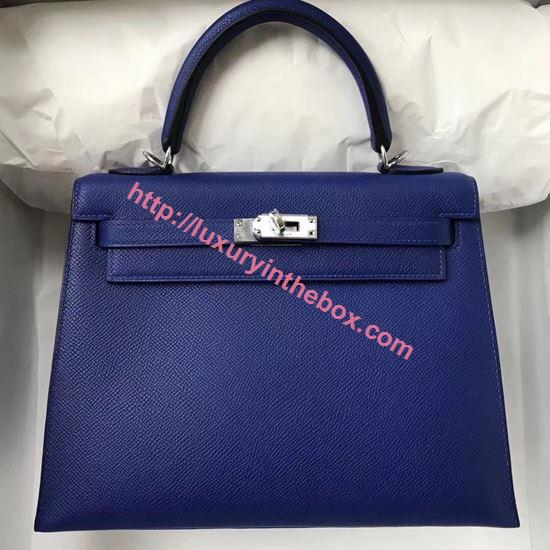 Picture of Hermes Kelly 25cm Epsom Leather Tote Bag Jewelry Blue Silver