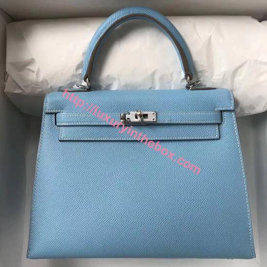 Picture of Hermes Kelly 25cm Epsom Leather Tote Bag Candy Blue Silver