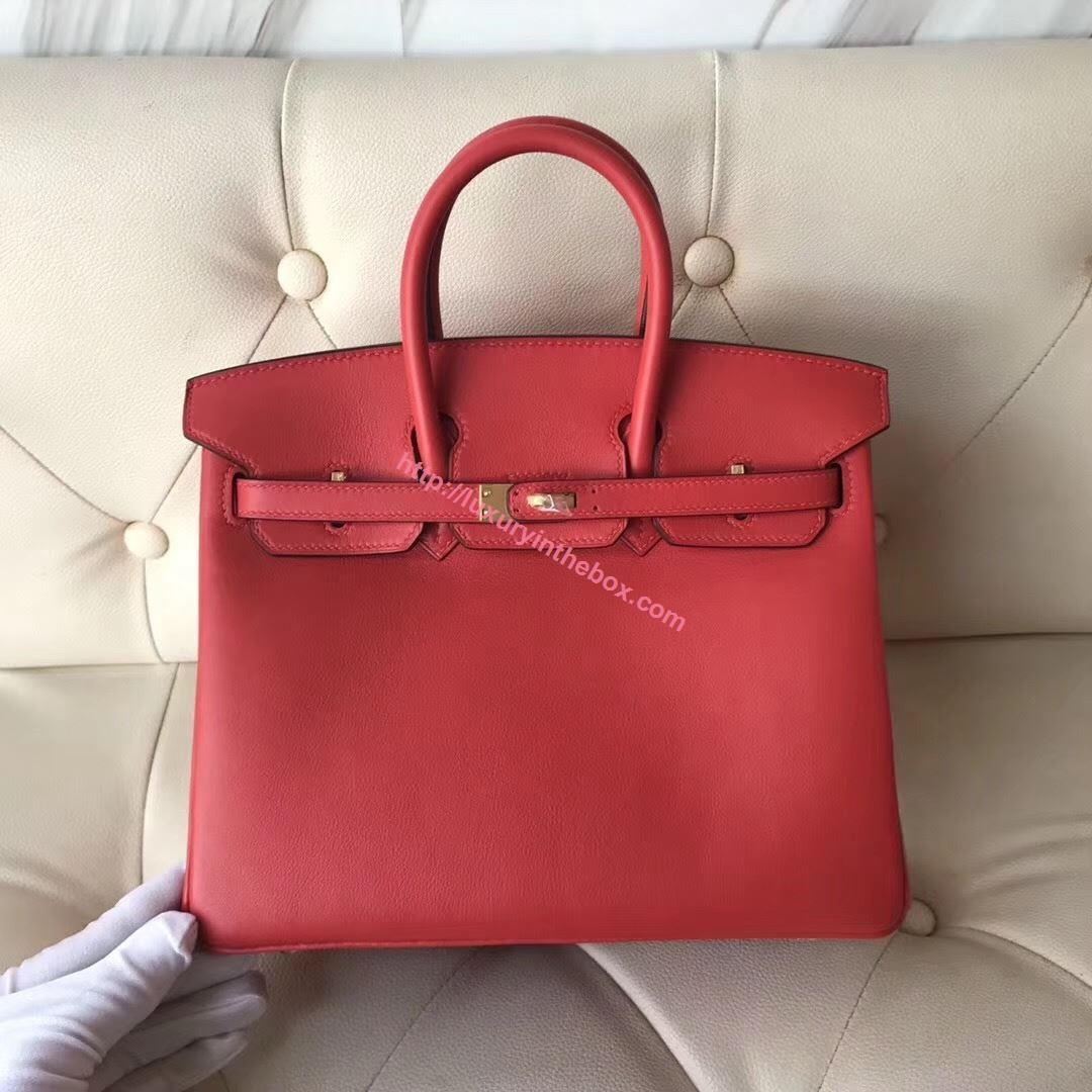 Picture of Hermes 25cm Swift Leather tomato red with Gold