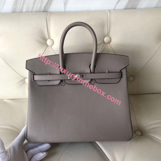 Picture of Hermes 25cm Swift Leather Paris Grey with silver