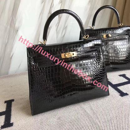 Picture of Hermes 25cm Crocodile Leather Black with Gold