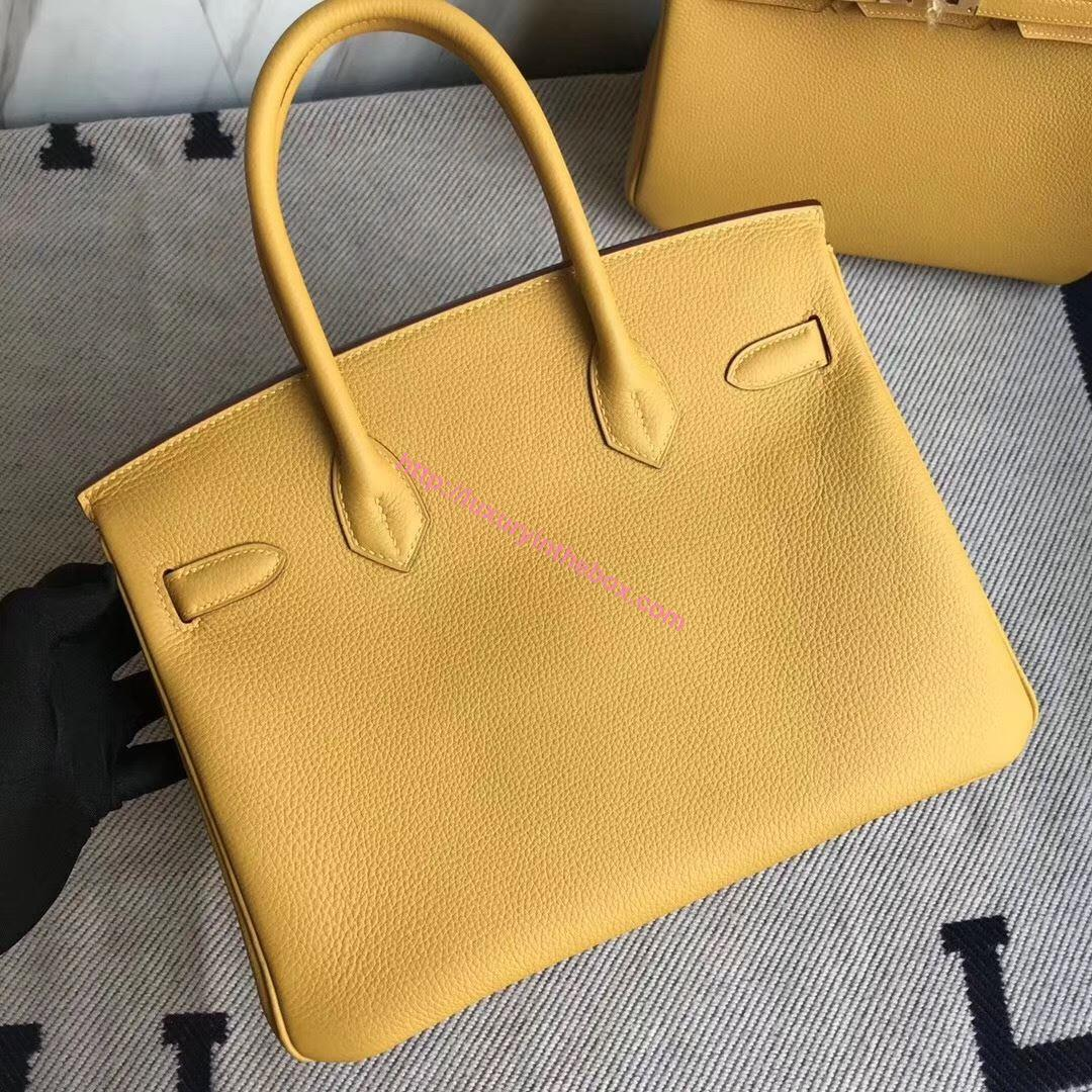 Picture of Hermes 30cm Togo Leather Ambel Yellow with Silver