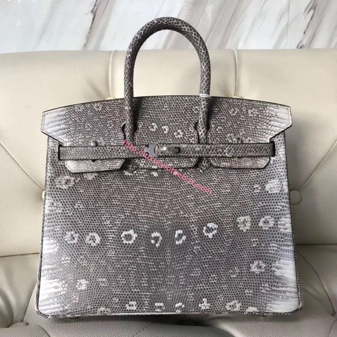 Picture of Hermes 25cm Lizard Leather Grey with Silver