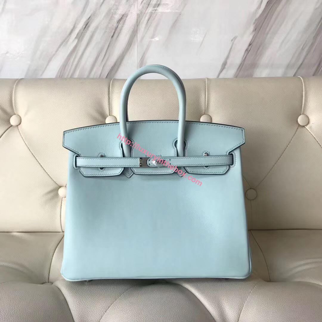 Picture of Hermes 25cm Swift Leather Sky Blue with silver - copy
