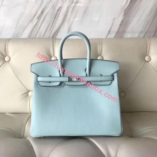 Picture of Hermes 25cm Swift Leather Sky Blue with Silver