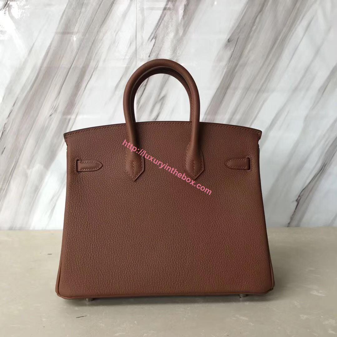 Picture of Hermes 25cm SWIFT Leather Brown with Silver
