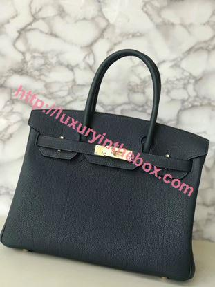Picture of Hermes 30cm Togo Leather Black Green  with Gold