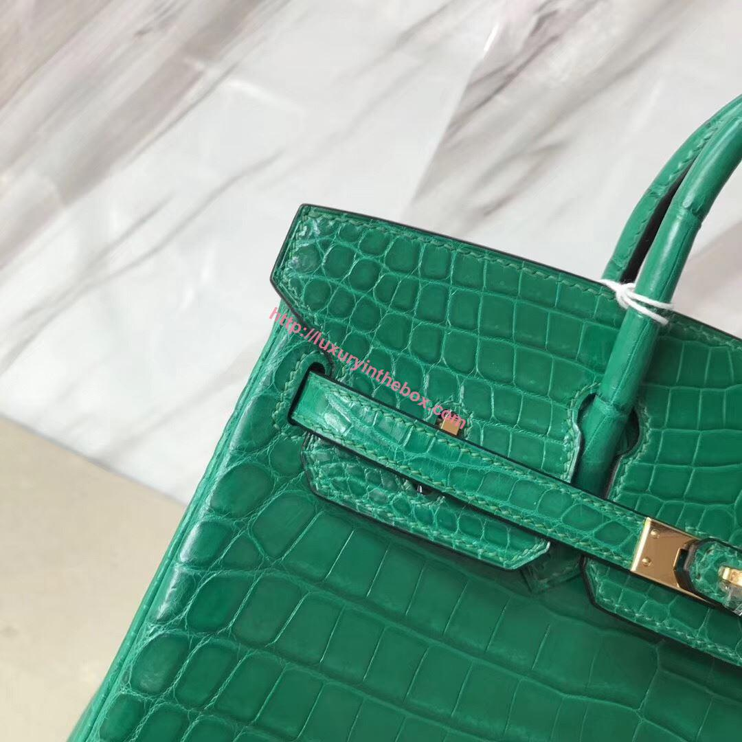 Picture of Hermes 25cm Crocodile Leather Emerald Green with Gold
