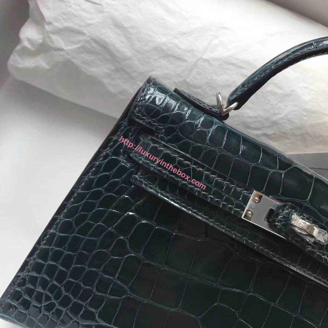 Picture of Hermes MiniKelly Crocodile leather Tote Bag Black Gold