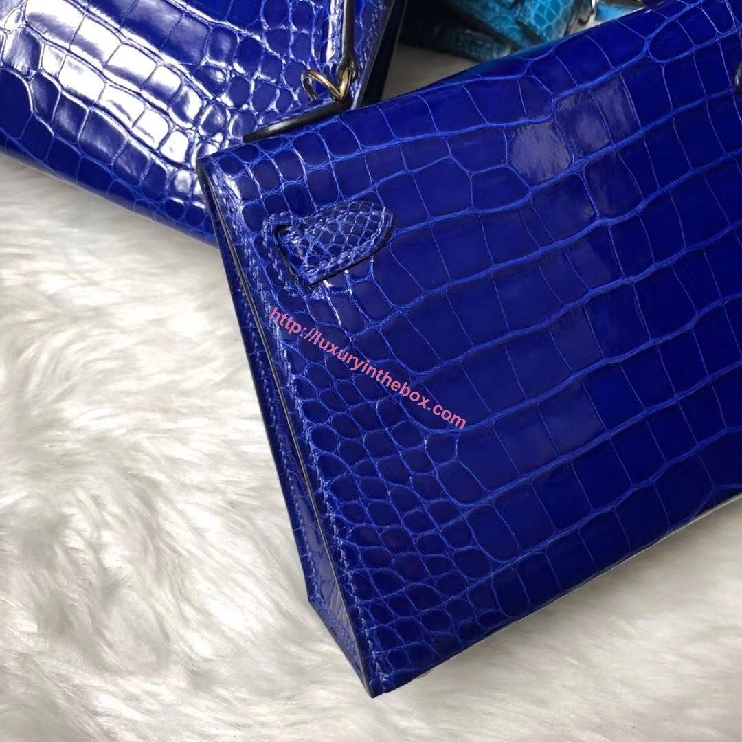 Picture of Hermes MiniKelly Crocodile leather Tote Bag Blue Gold