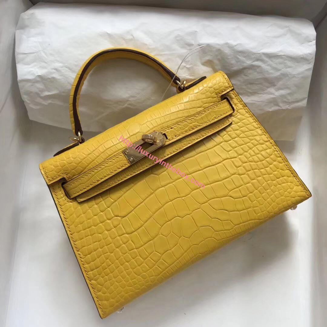 Picture of Hermes MiniKelly Crocodile leather Tote Bag Yellow Gold