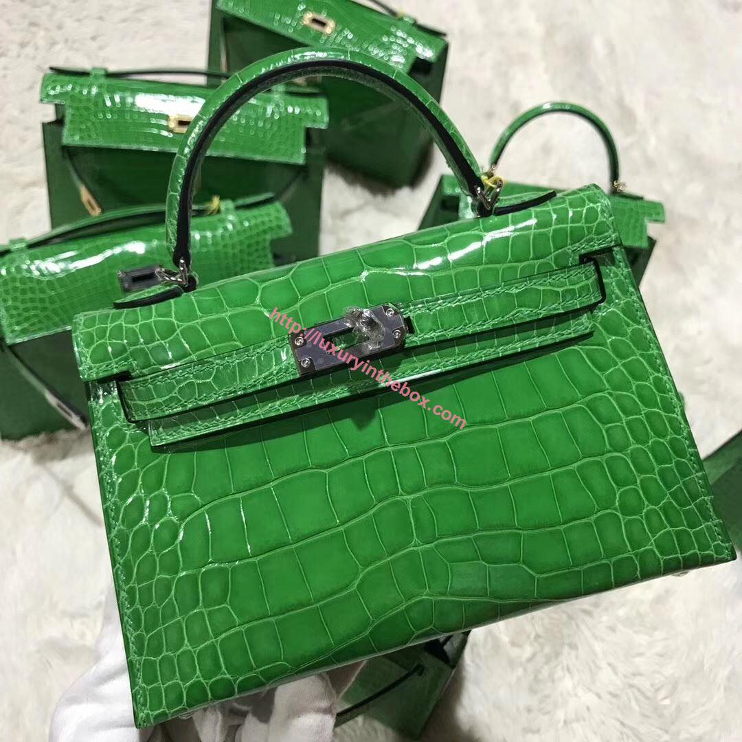 Picture of Hermes MiniKelly Crocodile leather Tote Bag Grass Green Silver