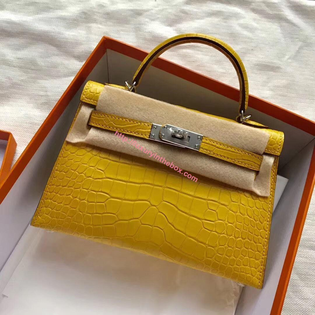 Picture of Hermes MiniKelly Crocodile leather Tote Bag Yellow Silver