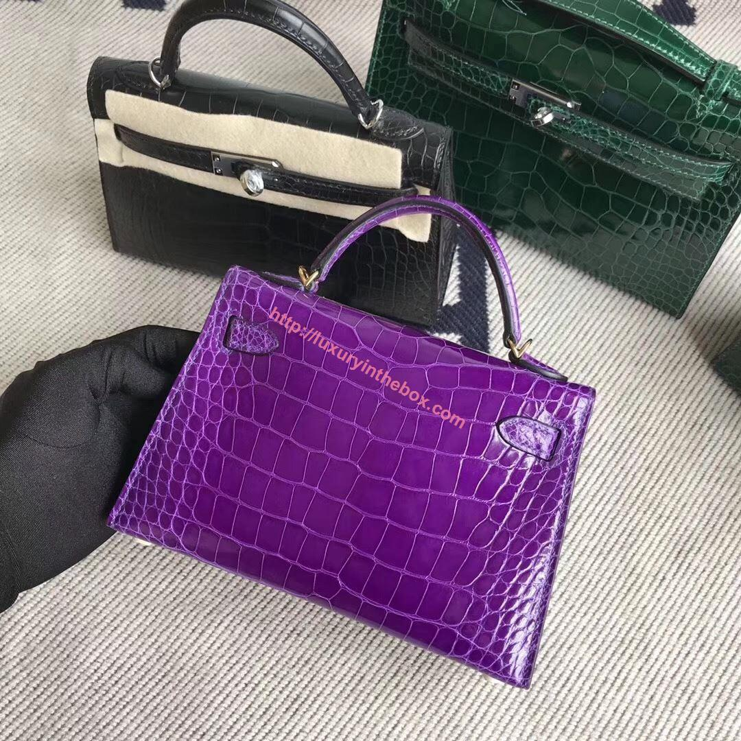 Picture of Hermes MiniKelly Crocodile leather Tote Bag Voilet Gold