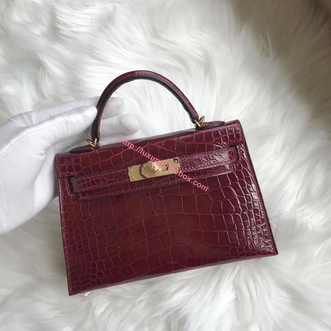 Picture of Hermes MiniKelly Crocodile leather Tote Bag Red Gold