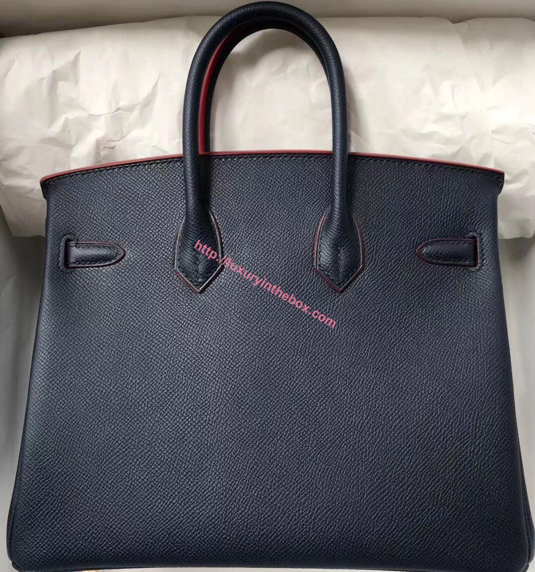 Picture of Hermes 25cm Epsom Leather black with red lines Gold