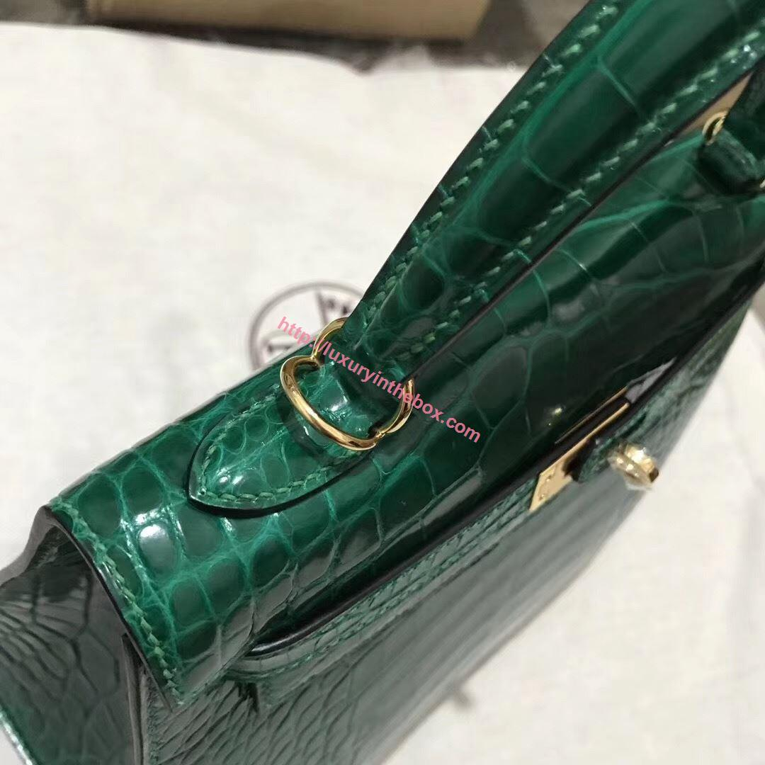 Picture of Hermes 28cm Crocodile leather Tote Bag Emerald Green Gold