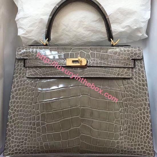Picture of Hermes 28cm Crocodile leather Tote Bag Grey Gold