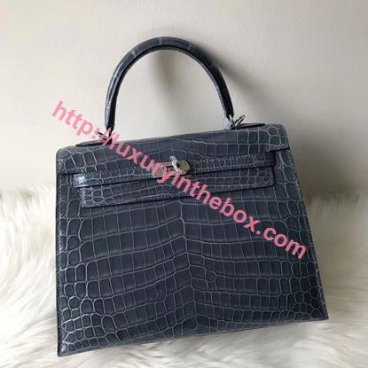 Picture of Hermes 28cm Crocodile leather Tote Bag Distant Blue Silver